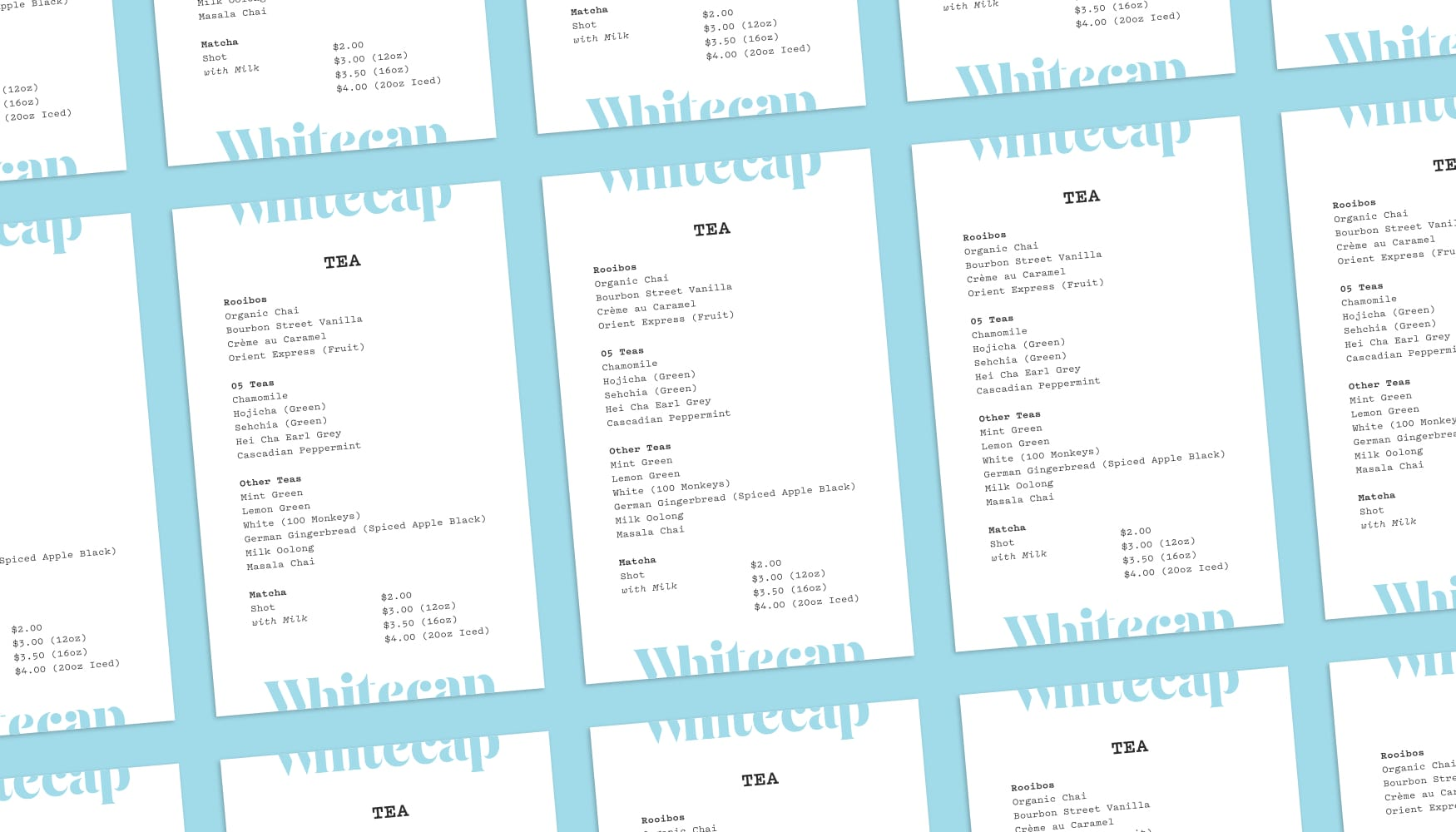 Whitecap Tea Menus